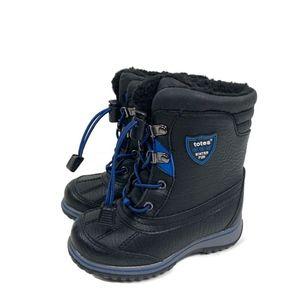 Totes Toddler Boys Snow Boots Black Blue Fleece